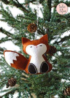 PDF Pattern - Woodland Fox, Winter Felt Ornament Pattern, Christmas Ornament, Softie Pattern