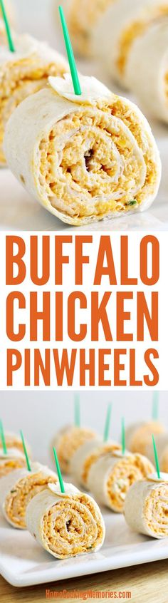Buffalo Chicken Pinwheels Recipe -- easy party food that has all the flavors of buffalo chicken wings - without the mess. Tortillas are rolled up with a delicious mixture of shredded chicken, hot wing sauce, cream cheese, blue cheese, and green on Appetizers For Party, Appetizer Recipes, Party Snacks, Buffalo Chicken Pinwheels, Buffalo Chicken Wraps, Tortilla Pinwheels, Cream Cheese Pinwheels, Tortilla Rolls, Pinwheel Recipes