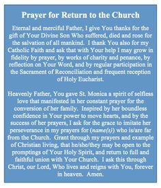 Prayer for Return to the Church -Who do you know who has fallen away from the faith?  They could really use your prayers today!