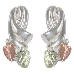 Sterling Silver | Black HIlls Gold On Sterling Swirled 2-Leaf Earring