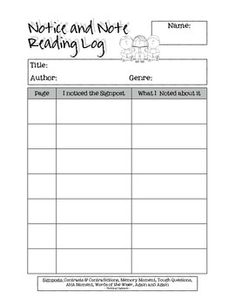 Notice and Note by Kylene Beers and Robert Probst is a fantastic book that helps us to get back to what matters in reading, while incorporating the Common Core ELA standards.  Here is a reading log I use with my students as I introduce the Signposts for them to note their thinking during their independent reading.