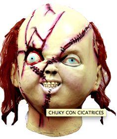 Máscara en forma de chuky (el muñeco diabólico) con cicatrices