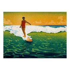 Early 1900s surfer art, repro print.