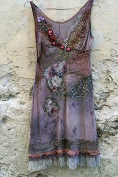dusty purple slip dress, hand beading and embroidery A14