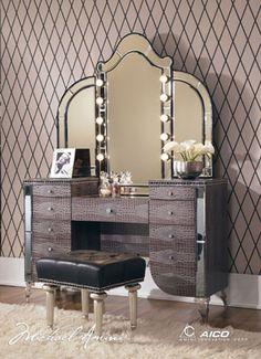 AICO Furniture Hollywood Swank Upholstered Vanity Set $3,219