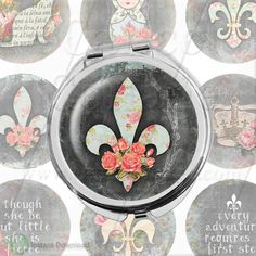 French Pocket Mirror Collage Sheet - Fluer De Lis Collage Sheet - 2.5 inch circles Printable download images for pocket mirrors by calicocollage on Etsy