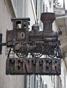 Old locomotive sign. Antique Signs, Vintage Signs, Blade Sign, Storefront Signs, Shop Signage, Pub Signs, Business Signs, Advertising Signs, Store Signs