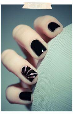 Silver Slivers on Black Background Nails.