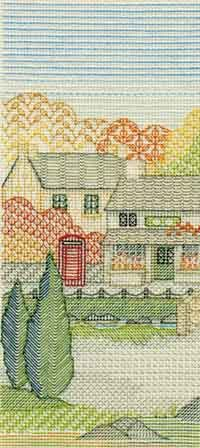 Village Shop Blackwork Kit from Derwentwater Designs