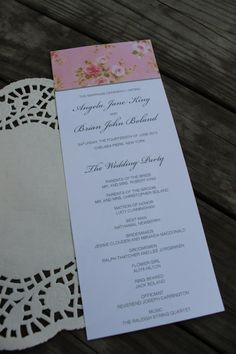 4x10 Wedding Ceremony Program - Pink Vintage Rose Collection - DIY Printable - With One Proof - $65 -Simply Invite on Etsy