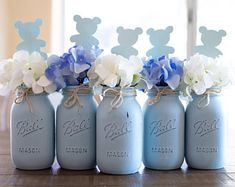 Sep 2018 - Baby Shower Mason Jar Centerpieces Blue Mason Jars Centerpieces, Mason Jar Decor Baby Shower Decorations Boy Rustic Baby Shower Decor by VivasFlowerShop on Etsy Baby Shower Decorations Boy, Boy Baby Shower Themes, Boy Decor, Baby Shower Ideas For Boys Centerpieces, Elephant Decorations, Elephant Baby Shower Centerpieces, Babyshower Centerpieces For Boys, Teddy Bear Centerpieces, Baby Shower Centerpieces Boy