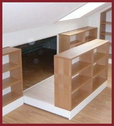 Clever Attic Storage Ideas – Attic bedroom Attic bedroom, Attic remodel, Loft room, Attic storage, A Home, Small Spaces, House Design, Shelves, Interior, Loft Room, Attic Spaces, Hidden Rooms, House Interior