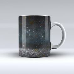The Black Unfocused Glowing Shimmer ink-Fuzed Ceramic Coffee Mug from DesignSkinz