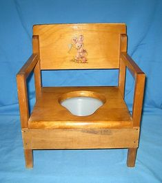 Vintage Oak Hill Child S Wooden Potty Chair With Tray