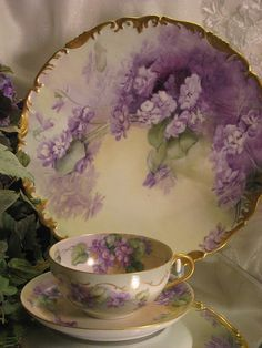 FRENCH AFRICAN PURPLE VIOLETS TEA CUP  SAUCER Antique Limoges France Teacup  Saucer Hand Painted Vintage Victorian Floral Art China Painting 19th Century American China Painter Circa 1900