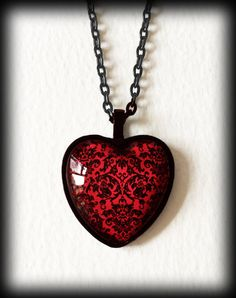 Victorian Heart Necklace, Red Damask Heart, Black Heart Pendant, Glass Cameo Necklace, Gothic Victorian, Handmade Jewelry by WhisperToTheMoon on Etsy