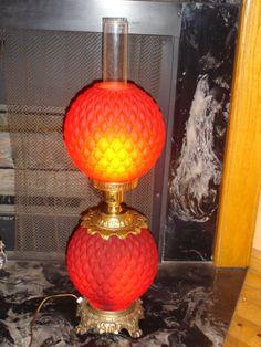 Fenton Diamond Ruby Red SATIN glass vintage GWTW lamp