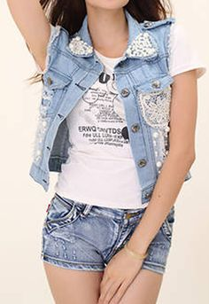 Pearl Collar Lace Attached Denim Cropped Jacket