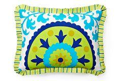 Suzani Pillow, Blue/Lime Green on OneKingsLane.com