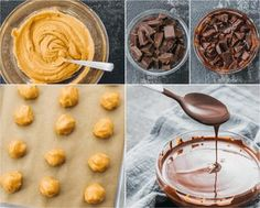 Step by step collage showing how to make low carb keto friendly peanut butter truffles