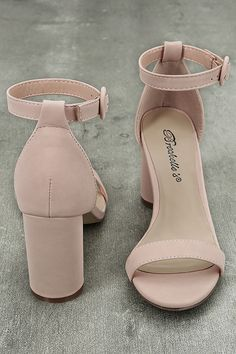 Creating the prefect party look just got easier with the Elettra Blush Nubuck Ankle Strap Heels! Soft vegan nubuck shapes a slender toe strap, structured heel cup, and ankle strap with blush buckle. Cute Shoes Heels, Pretty Heels, Fancy Shoes, Lace Up Heels, Ankle Strap Heels, Ankle Straps, Blush Wedges, Blush Wedding Shoes, Prom Heels