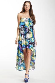 Strapless Ruffle Tier Hi-Lo Maxi Dress