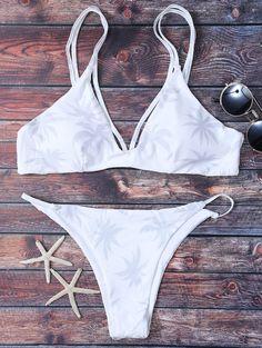 $15.99 High Leg Palmtree Print Bikini Set - WHITE S