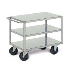 GTARDO.DE:  Tischwagen aus Edelstahl, 3 Ladeflächen 1200 x 800 mm, Tragkraft 350 kg, Luftreifen 1 352,00 €
