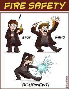 fire safety, wizard style: stop! wand! aguamenti!