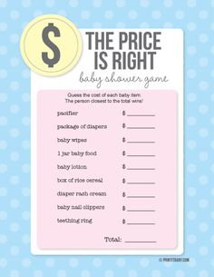 1000 images about baby shower games on pinterest baby for Price is right bridal shower game template