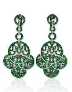 Lace Collection. Earrings. 5.70cts Emeralds, 0.72cts White Diamonds. Metal: 18K White Gold