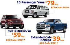 Fall into Budget ATL's rental deals on Pickup Trucks, SUVs & Vans: BudgetATL.com. 15 Passenger Van: $79/Day or $395/Week (enter BCD code FV914). Full Size SUV: $59/Day or $149 for 3 Day Weekend (BCD coupon code DU917). Extended Cab Pickup Truck Special: Lowest rate $39 /Day! Feat. Dodge Ram Extended Cab Pickup (use BCD code PX917 at BudgetATL.com). Rent like a genius with Roadside SafetyNet: Peace of mind. Atlanta's best value in car rental: Budget ATL, locally owned since 1977