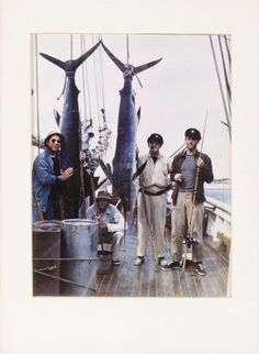Henry Fonda, Ward Bond, John Ford, and John Wayne Fishing Photo ~ caught a very large swordfish (circa 1947-1948)