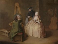 The Painter in His Studio.   Pietro Longhi  Italian, about 1741 - 174  Pietro Longhi depicts the act of painting as an intimate scene of contemporary life. Longhi invites the viewer into a painter's studio, where the artist, surrounded by an array of his tools and props, creates a faithful likeness of a typical Venetian lady sitting for her portrait. Her costumed companion has removed his mask, which allowed him to pass incognito in public during the free-spirited months of Carnival