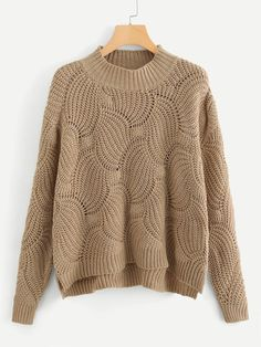 Product name: Loose Knit Stepped Hem Sweater at SHEIN, Category: SweatersAffordable ladies sweaters and cardigans online store for every occasion. SHEIN offers Sweaters & more to fit your fashionable needs. Knitting Blogs, Baby Knitting Patterns, Crochet Patterns, Crochet Stitches, Knit Fashion, Cardigan Fashion, Girls Sweaters, Cardigans For Women, Crochet Cardigan