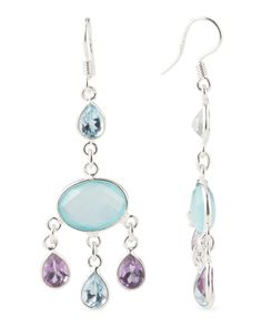 Made In India Sterling Silver Multi Stone Earrings