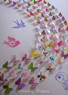 11X14 canvas with 3D butterflies created from recycled papers