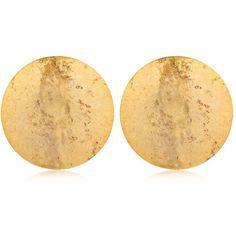Oscar De La Renta Women Fish Scale Round Earrings (680 BRL) ❤ liked on Polyvore featuring jewelry, earrings, gold, oscar de la renta, gold round earrings, gold earrings, oscar de la renta jewelry and round earrings