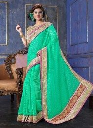 Sea Green Color Elegant Hand Embroidered Designer Saree For Party & Other Occasions