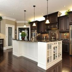 Dark Floor White Cabinet Kitchen love the contrast of white and dark wood floors!simmons estate