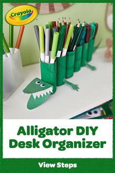 Oh snap! Gator-ize your workspace with this DIY desk organizer. It's a fun alligator animal craft for kids to make at home! Animal Crafts For Kids, Crafts For Kids To Make, Projects For Kids, Diy Projects, Cardboard Organizer, Diy Cardboard, Craft Desk, Diy Desk, Home Crafts