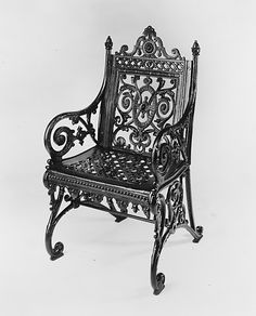 Armchair.  North American Iron Work, 1877-1897, Metropolitan Museum.  Garden furniture  became important; cast iron garden furniture with decorative scroll and foliage appeared in formal outdoor settings.  Industrial Revolution.