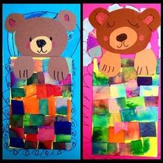 Are you up early or sleeping in today? These bears can't decide! These tissue pieces are the remains that fall off from doing bleeding tissue art with water. They are stuck to half sheets of sticky foam, so no gluey mess! First Grade Art, 2nd Grade Art, Kindergarten Art Projects, Art Lessons Elementary, Bear Art, Winter Art, Art Lesson Plans, Art Classroom, Art Plastique