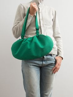 Faux / #Vegan Suede #Bag #Purse Bright #GreenBag #Minimalist by #Marewo