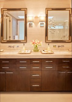 "ANN SACKS Athens Silver Cream 30"" x 72"" marble slab in honed finish (interior designer: Daylin Katlin Design, photographer: Grey Crawford Photography)"