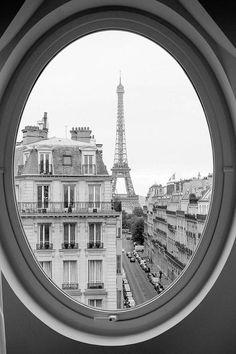 Black and White Photography, Eiffel tower room with a view, Paris Decor, Haussmann apartments in Paris, Paris Architecture, Rebecca Plotnick