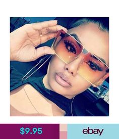 Sunglasses Fashion Eyewear Designer Oversized Sunglasses Color Lens Flat Top Square Frame Women Fashion
