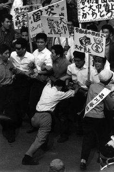 Leftwing zengakuren student demonstration on May Day, Tokyo, Japan, 1961, photograph by Rene Burri.
