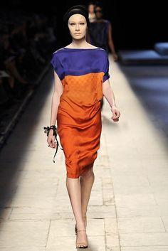 Peacock blue + burnt orange dress   Dries Van Noten Spring 2009 Ready-to-wear