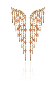 Singing in the Rain earrings in 18k rose gold with coral from Carla Amorim's new Romance jewelry collection